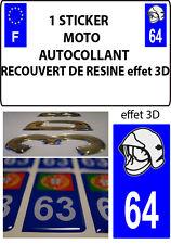 1 sticker plaque immatriculation MOTO DOMING 3D RESINE CASQUE DE POMPIER DEPA 64