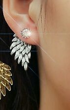 #1180 Women Angel Wings Rhinestone Inlaid Alloy Ear Studs Party Jewelry Earring