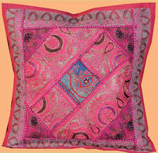 HAND CRAFTED ANTIQUE ZARI DRESSES PATCH WORK PILLOW/CUSHION COVER INDIA!!