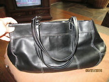 Very Large Black Lancome Bag with Silver Rings and Pink Cotton Lining