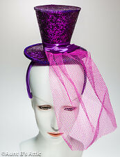 Top Hat Mini Purple Sequin Top Hat With Headband Burlesque Victorian Novelty Hat