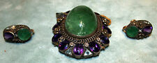 EMERALD 60CT  CIRCA1870  ,DIAMONDS  AMETHYST&  AQUAMARINE 3PC  SUITE RARE