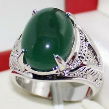 Size 11 NEW Handmade Mens Stainless Steel Silver Birthstones Jade Solitaire Ring