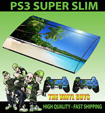 PLAYSTATION PS3 SUPER SLIM tropical BEACH paradise peau autocollant & 2 pad peau
