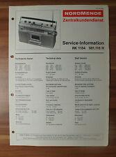 Radio-Cassettenrecorder RK1184 981.116H Nordmende Service Manual Serviceanleitun