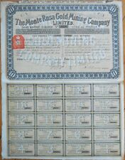 1898 Stock Certificate: 'Monte Rosa Gold Mining Company, Ltd.' - London - Yellow
