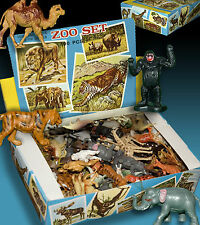 ZOO SET | 100 PLASTIKTIERE IN ORIGINAL LADEN SCHACHTEL 70er HONG KONG WUNDERTÜTE