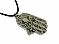 Hamsa Hand, All Seeing Eye, Pewter Pendant with Corded Necklace #HC-AM01