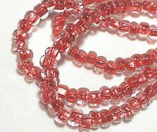 "Czech Glass Seed Beads Size 6/0 "" COPPER LINED CORAL CRYSTAL "" Strands"