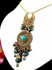FAB NECKLACE FAUX TURQUOISE ETRUSCAN STYLE DANGLE PENDANT PIERCED EARRINGS SET