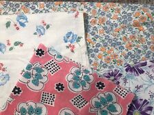 Vintage Feedsack/Flour Sack Cotton Quilt Fabric 4 Pc Lot Med-Large Florals