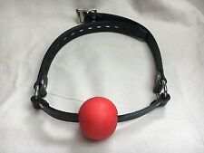 Red Ball Gag & Strong Black Genuine leather with LOCKABLE Buckle ADULT