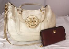 Lot Authentic Tory Burch Ivory Leather 2-Way Satchel Cross-body Purse w/ Wallet