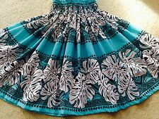 "NEW AQUA TURQUOISE OCEAN BLUE BLACK HAWAIIAN HULA PAU PA'U SKIRT 28"" LONG"