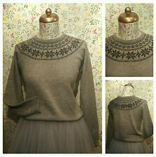 50's Style Lindy Bop Woodward Fairisle Knit Jumper Grey Charcoal Size Medium