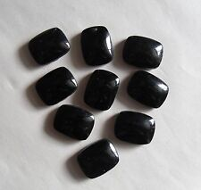 Set of 9 Vintage 1950s Smooth Black Glass Oblong Beads (Faux Jet). Deco Fashion