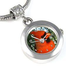 Cardinal Bird Silver Quartz Watch European Spacer Charm Bead For Bracelet EBA32