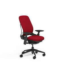Large Steelcase Leap PLUS Adjustable Desk Chair Buzz2 Rouge Red Fabric 500 lb