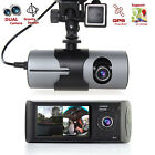 "Dash Cam 2.7"" TFT LCD HD Dual Camera Car DVR Black Box w/ GPS Tracker + G-Sensor"