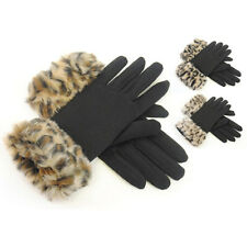 NEW LADIES WOMENS GIRLS BLACK GLOVES ANIMAL LEOPARD PRINT FAUX FUR CUFF