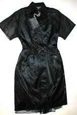 New Womens NWT Dress Black Designer Sacai 3 Midnight Dark Blue Coat Dress L 8