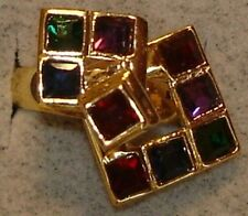 Ladies Vintage DAC 18KT. Motion Swinger Multi-Color Crystal Rings in Sizes 6 & 7
