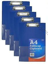 5 x BLUE SOLID A4 CLIPBOARD CLIP BOARD - Clipboards with Pen Holder - Foolscap