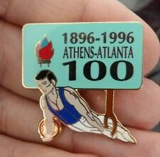 PIN'S JEUX OLYMPQUES ATHENS ATLANTA 1896 1996 100 ANS GYMNASTIQUE EGF