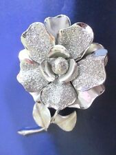 SILVER TONE WITH BAKED IN GLITTER LARGE SILVER TONE FLOWER PIN SIGNED CORO