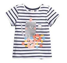 H&M H M Girl Infant Top T Shirt Stripes Kitty Cat Bird Size 3-6 Month