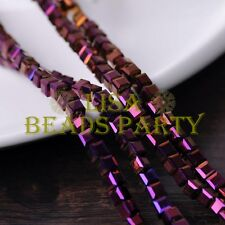 25pcs 6mm Cube Square DIY Crystal Glass Loose Spacer Beads Purple Plated