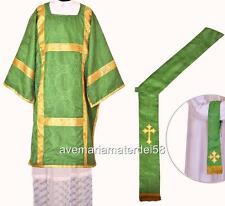 Green Deacon Dalmatic Vestment Set with Stole and Maniple S,M,L,Regular Sizes
