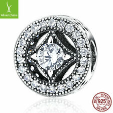 NEW! Original 925 Sterling Silver Round Shape Clear CZ Charm Fit Bracelet, Chain