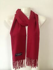 100% CASHMERE SCARF SOLID DESIGN BURGUNDY MADE IN SCOTLAND SUPER SOFT