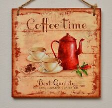 Decorative Vintage plaque/picture Country kitchen Coffee time, decoupage