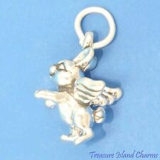 EASTER ANGEL BUNNY RABBIT 3D .925 Solid Sterling Silver Charm