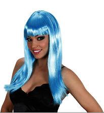 Señoras de largo recto Azure Blue Peluca Flecos Glamour Sexy Gallina 60 70 80 Fancy Dress