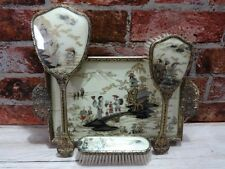 Vintage Oriental Ornate Chinese Vanity Dressing Table Set Tray Brush Mirror