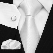 UK Men's Necktie Plain Solid White Twill Wedding Luxury Silk Tie Set