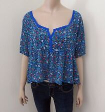 Hollister Womens Floral Sheer Peasant Top Size Medium Blouse Colorful