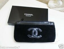 Chanel Beauty Makeup Trousse Bag Iphone Pouch Clutch Black Velvet