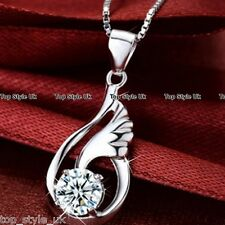 925 Sterling Silver Angel Wings Crystal Pendant Necklace Jewelry Birthday Gift