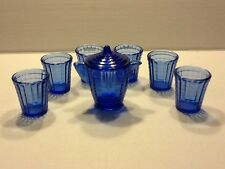 Akro Agate Children's Cobalt Teapot and 6 Tumbler Set