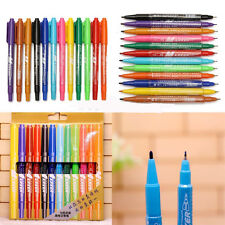 12pcs Waterproof Colorful Set Fine Twin Tip Permanent Marker Pen Oily Painting