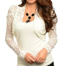 Black or Ivory Long Sleeve Lace Cropped Bolero/Shrug/Cardigan S M L