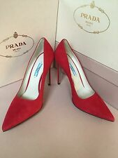 New PRADA Red Suede Pointed Toe Pumps Heels Size 38.5 8.5 Women's Shoes Italy S1