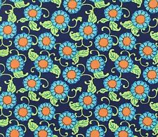 By 1/2 Yard ~ Amy Butler Cotton Fabric ~ Lark ~ Button Flowers in Navy ~ Floral