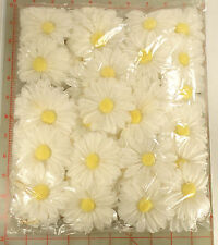"72 vintage white daisy flowers yellow center white petal millinery 3"" Japan"