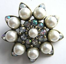 2 x 3.2cm Vintage Inspired Button AB Rhinestone Pearl Shoes Handbag Fascinator