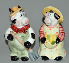 "Farmer Cow Salt & Pepper Shakers 5""  farm Popular Creations 2004 corn bandana MT"